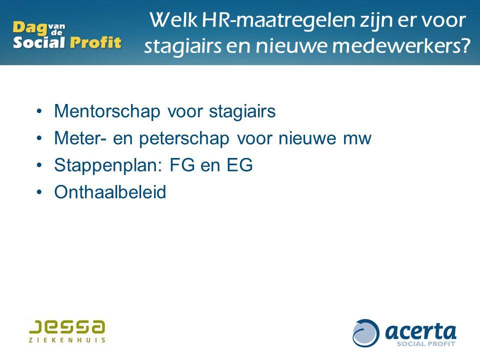 Welk HR-maatregelen zijn er voor stagiairs en nieuwe medewerkers? Mentorschap voor stagiairs Meter- en peterschap voor nieuwe mw Stappenplan: FG en EG