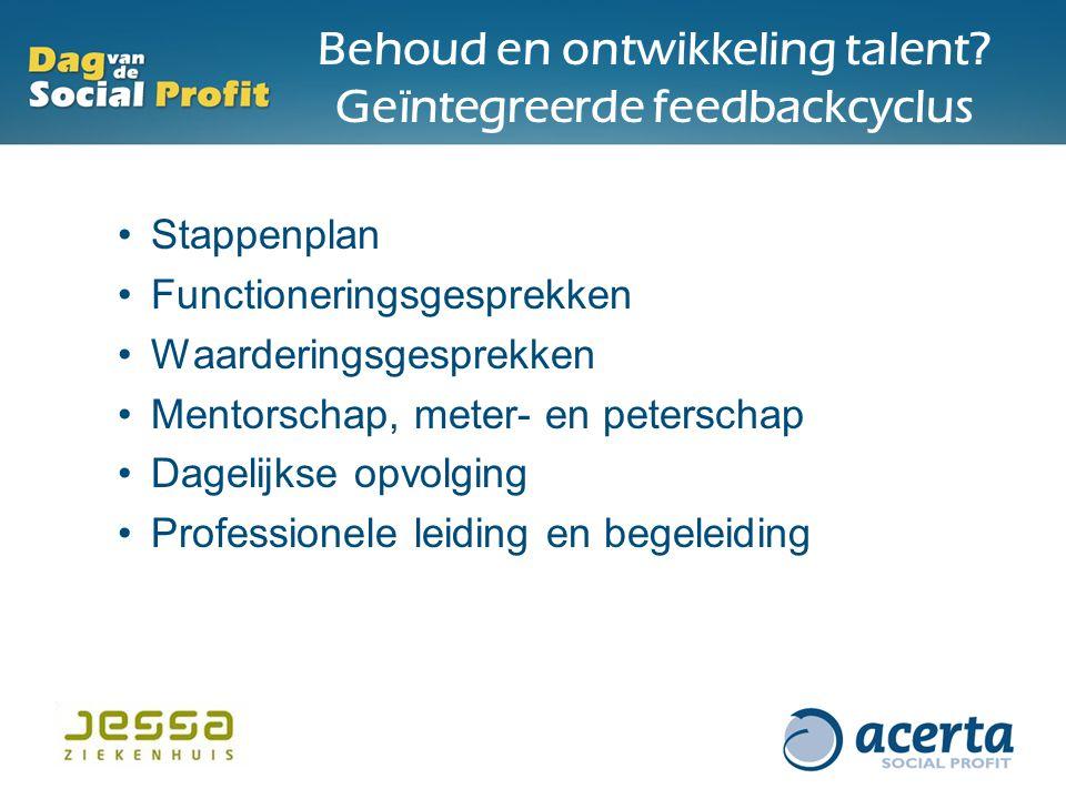 Behoud en ontwikkeling talent? Geïntegreerde feedbackcyclus Stappenplan Functioneringsgesprekken Waarderingsgesprekken Mentorschap, meter- en petersch
