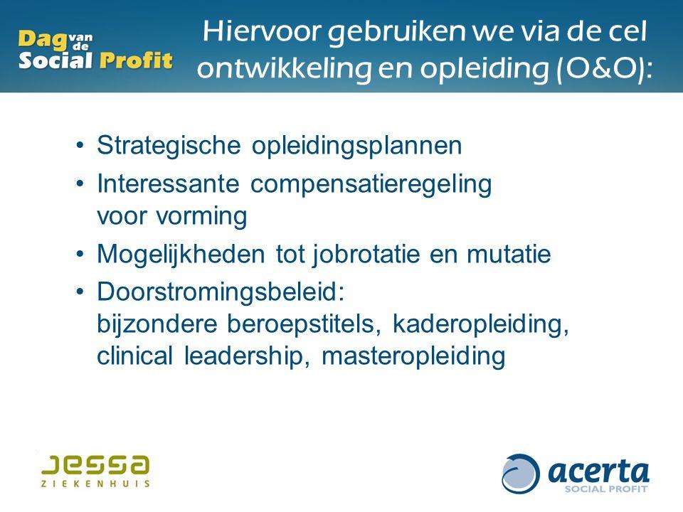 Hiervoor gebruiken we via de cel ontwikkeling en opleiding (O&O): Strategische opleidingsplannen Interessante compensatieregeling voor vorming Mogelij