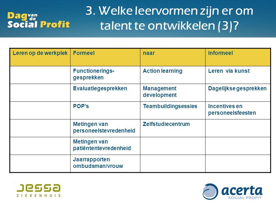 3. Welke leervormen zijn er om talent te ontwikkelen (3)? Leren op de werkplekFormeelnaarInformeel Functionerings- gesprekken Action learningLeren via