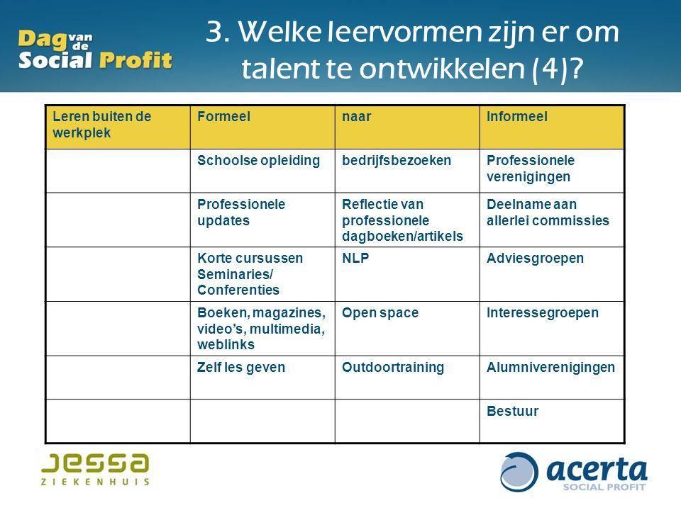 3. Welke leervormen zijn er om talent te ontwikkelen (4)? Leren buiten de werkplek FormeelnaarInformeel Schoolse opleidingbedrijfsbezoekenProfessionel