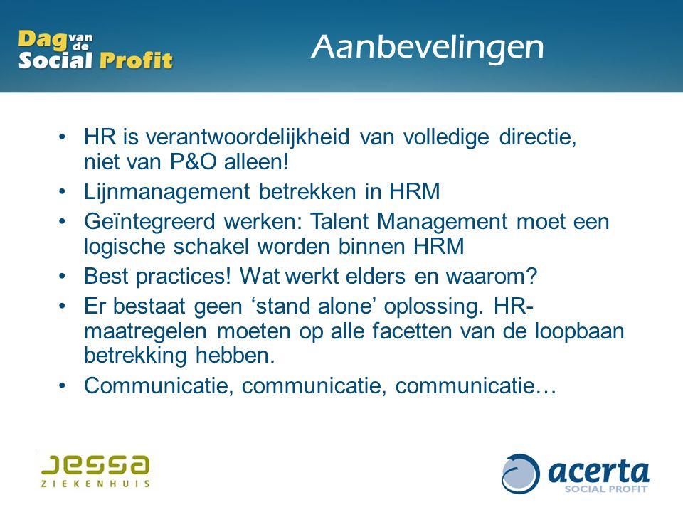 Aanbevelingen HR is verantwoordelijkheid van volledige directie, niet van P&O alleen! Lijnmanagement betrekken in HRM Geïntegreerd werken: Talent Mana