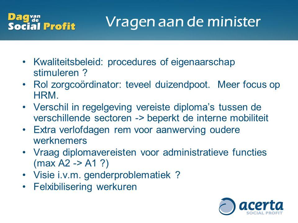 Vragen aan de minister Kwaliteitsbeleid: procedures of eigenaarschap stimuleren ? Rol zorgcoördinator: teveel duizendpoot. Meer focus op HRM. Verschil