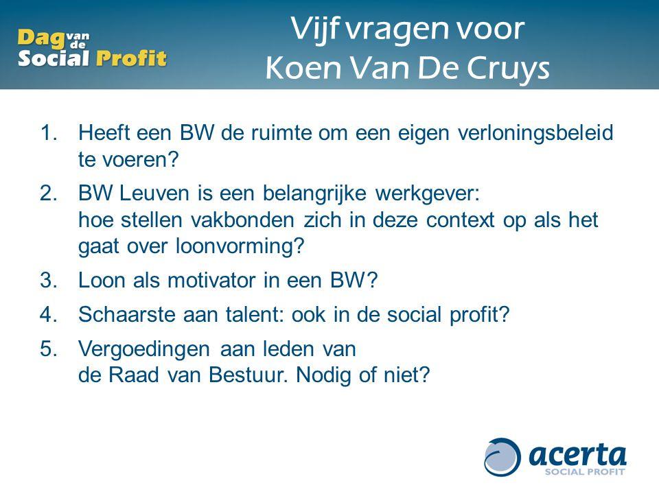 Vijf vragen voor Koen Van De Cruys 1.Heeft een BW de ruimte om een eigen verloningsbeleid te voeren? 2.BW Leuven is een belangrijke werkgever: hoe ste