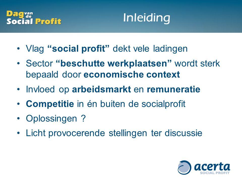 Inleiding Vlag social profit dekt vele ladingen Sector beschutte werkplaatsen wordt sterk bepaald door economische context Invloed op arbeidsmarkt en remuneratie Competitie in én buiten de socialprofit Oplossingen .