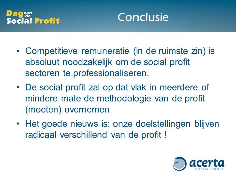 Conclusie Competitieve remuneratie (in de ruimste zin) is absoluut noodzakelijk om de social profit sectoren te professionaliseren. De social profit z