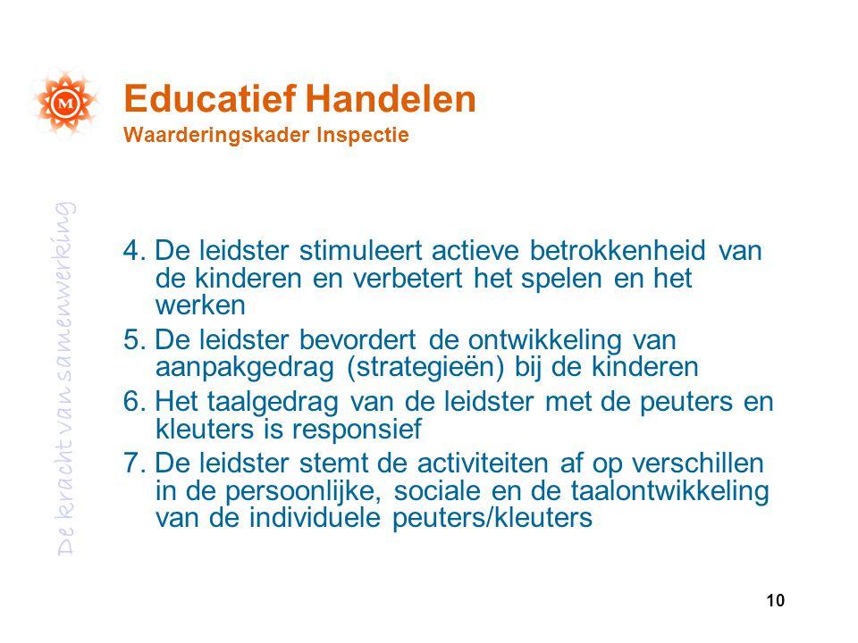 De kracht van samenwerking 10 Educatief Handelen Waarderingskader Inspectie 4. De leidster stimuleert actieve betrokkenheid van de kinderen en verbete