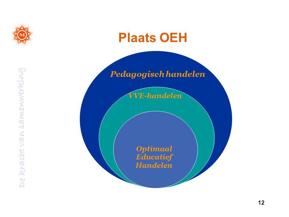 De kracht van samenwerking 12 Plaats OEH VVE-handelen Optimaal Educatief Handelen Pedagogisch handelen