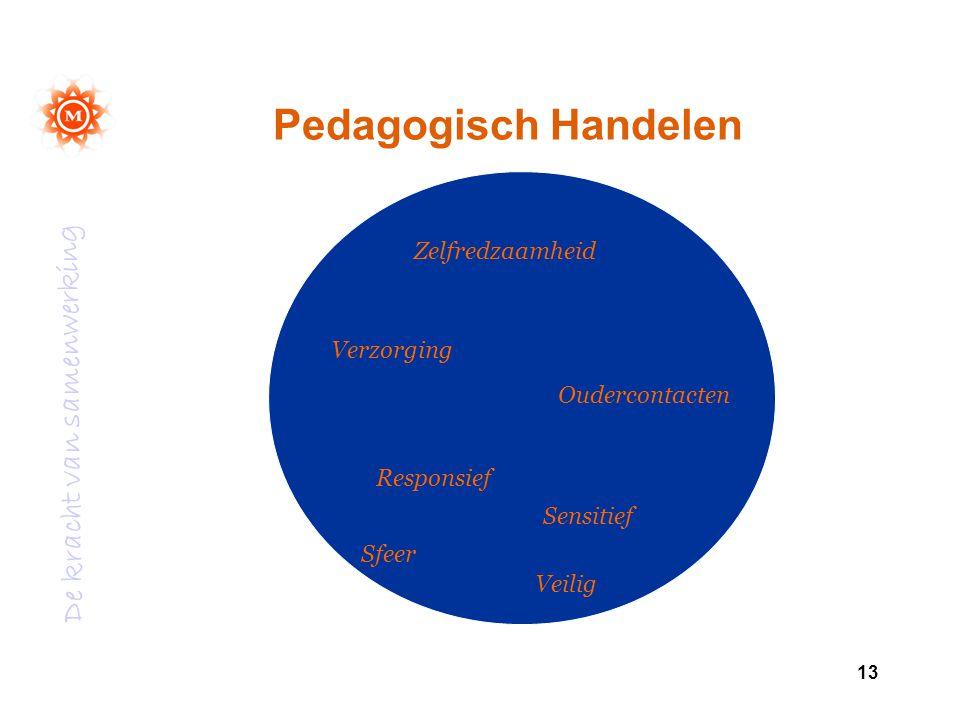 De kracht van samenwerking 13 Pedagogisch Handelen Zelfredzaamheid Verzorging Oudercontacten Responsief Sensitief Sfeer Veilig