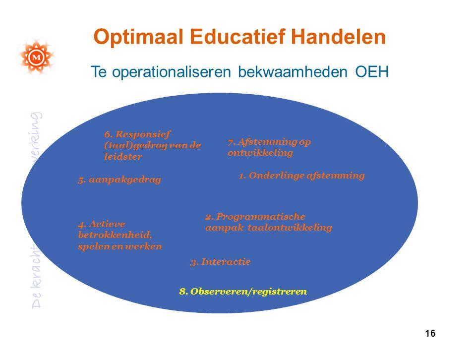 De kracht van samenwerking 16 1. Onderlinge afstemming 2. Programmatische aanpak taalontwikkeling 3. Interactie 4. Actieve betrokkenheid, spelen en we