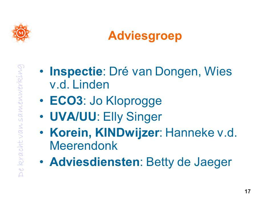 De kracht van samenwerking 17 Adviesgroep Inspectie: Dré van Dongen, Wies v.d. Linden ECO3: Jo Kloprogge UVA/UU: Elly Singer Korein, KINDwijzer: Hanne