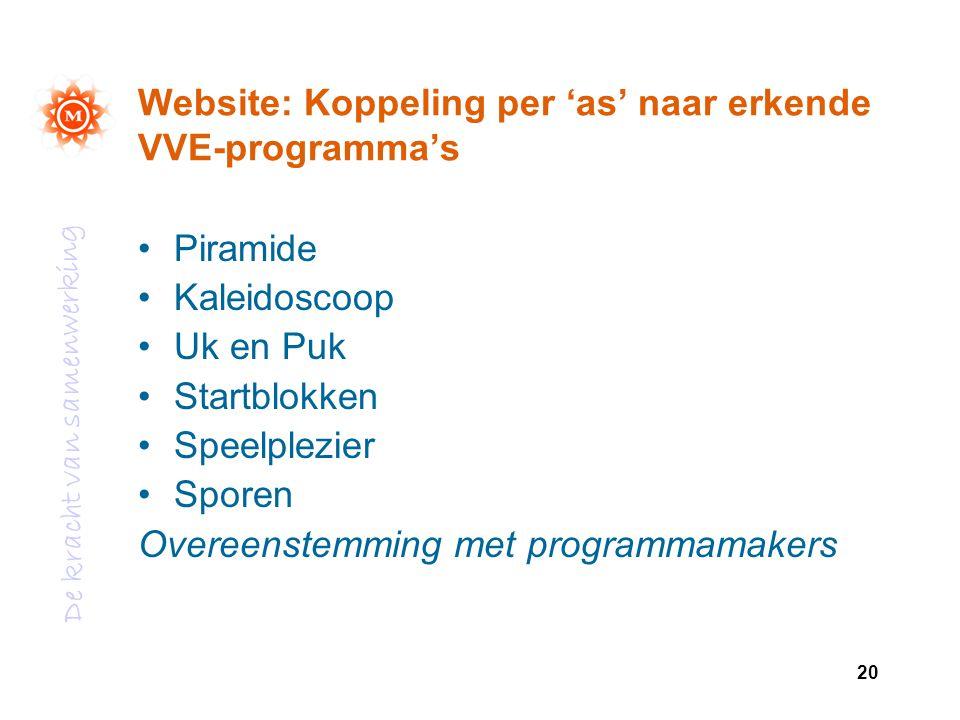 De kracht van samenwerking 20 Website: Koppeling per 'as' naar erkende VVE-programma's Piramide Kaleidoscoop Uk en Puk Startblokken Speelplezier Spore