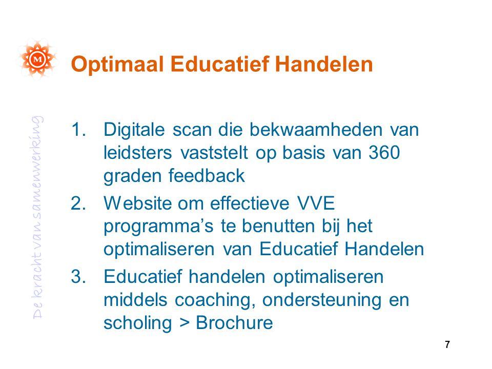De kracht van samenwerking 7 Optimaal Educatief Handelen 1.Digitale scan die bekwaamheden van leidsters vaststelt op basis van 360 graden feedback 2.W
