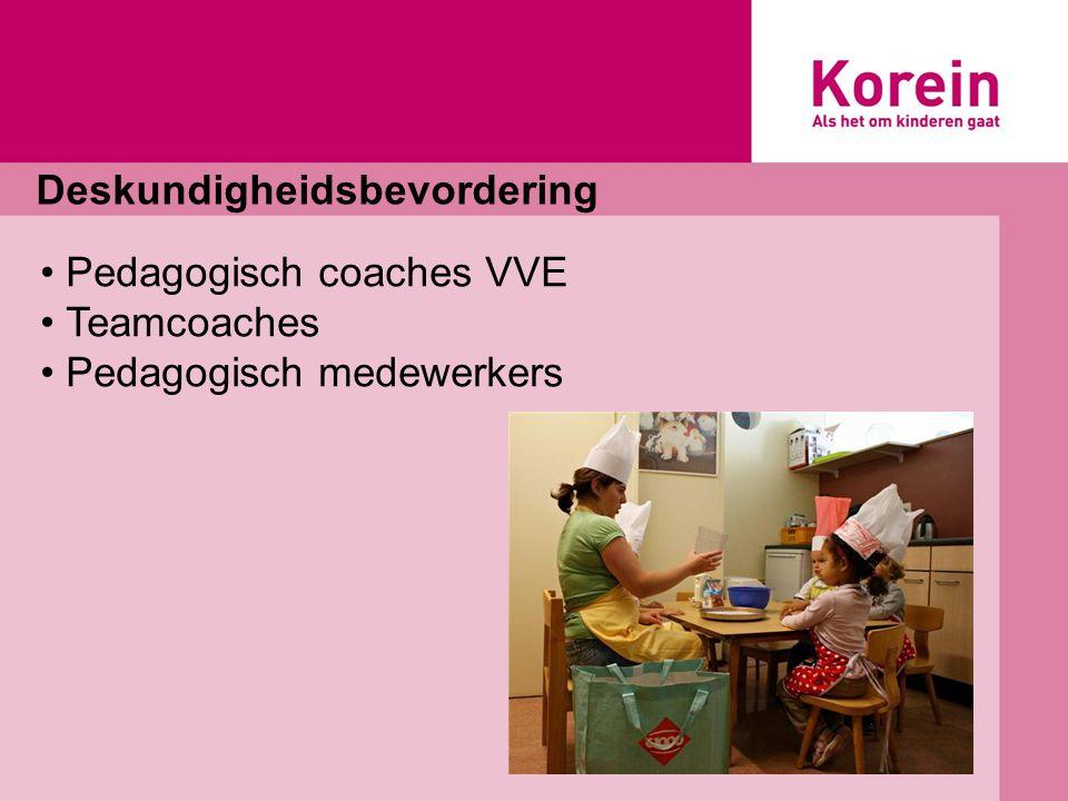 Deskundigheidsbevordering Pedagogisch coaches VVE Teamcoaches Pedagogisch medewerkers