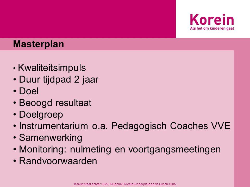 Stelling 2 Methodisch werken = borging van kwaliteit op de werkvloer Korein staat achter Click, KluppluZ, Korein Kinderplein en de Lunch-Club
