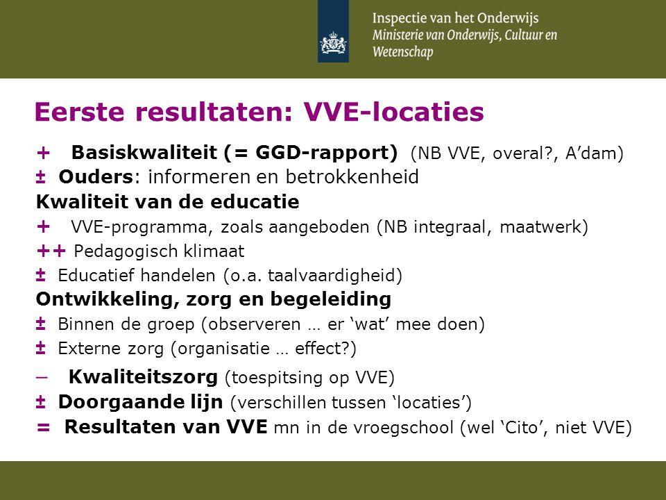 Eerste resultaten: VVE-locaties + Basiskwaliteit (= GGD-rapport) (NB VVE, overal?, A'dam) ± Ouders: informeren en betrokkenheid Kwaliteit van de educa