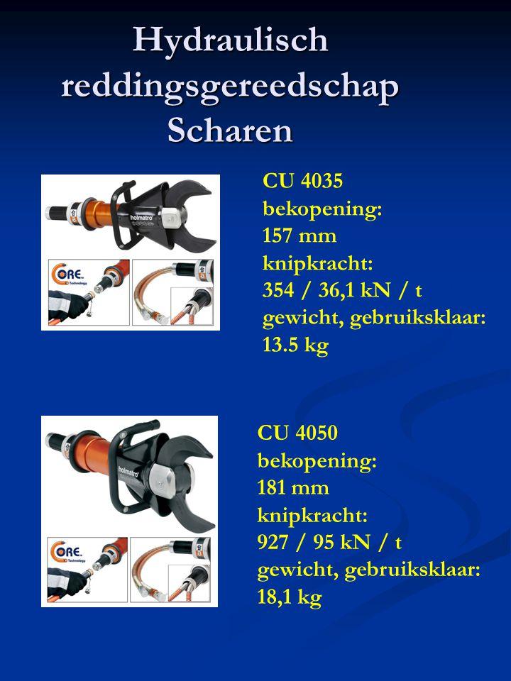 Hydraulisch reddingsgereedschap Scharen CU 4035 bekopening: 157 mm knipkracht: 354 / 36,1 kN / t gewicht, gebruiksklaar: 13.5 kg CU 4050 bekopening: 181 mm knipkracht: 927 / 95 kN / t gewicht, gebruiksklaar: 18,1 kg