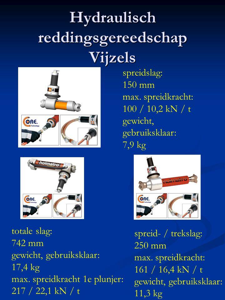 Hydraulisch reddingsgereedschap Vijzels spreidslag: 150 mm max. spreidkracht: 100 / 10,2 kN / t gewicht, gebruiksklaar: 7,9 kg totale slag: 742 mm gew