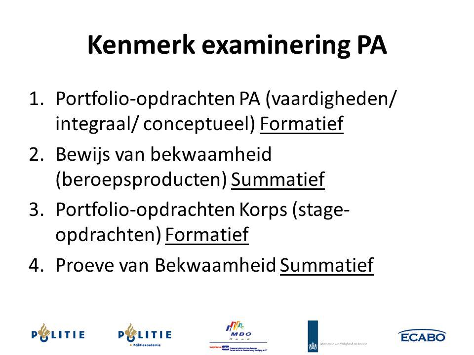 Kenmerk examinering PA 1.Portfolio-opdrachten PA (vaardigheden/ integraal/ conceptueel) Formatief 2.Bewijs van bekwaamheid (beroepsproducten) Summatie