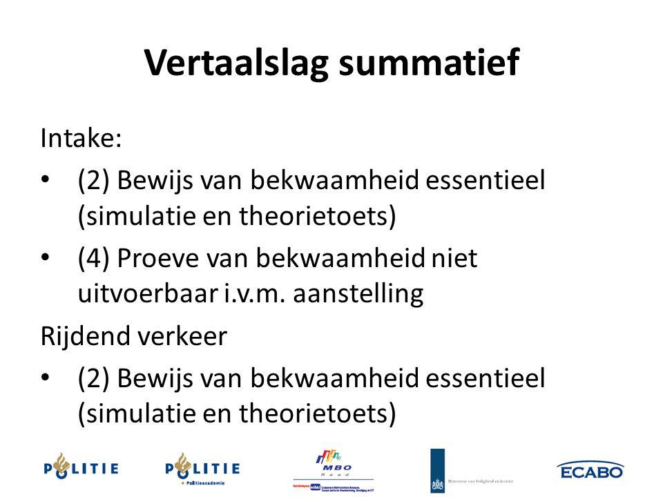 Vertaalslag summatief Intake: (2) Bewijs van bekwaamheid essentieel (simulatie en theorietoets) (4) Proeve van bekwaamheid niet uitvoerbaar i.v.m. aan
