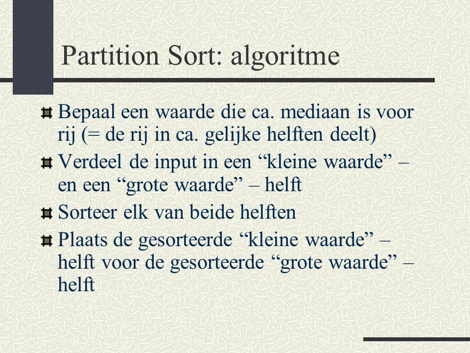 Partition Sort: algoritme Bepaal een waarde die ca.