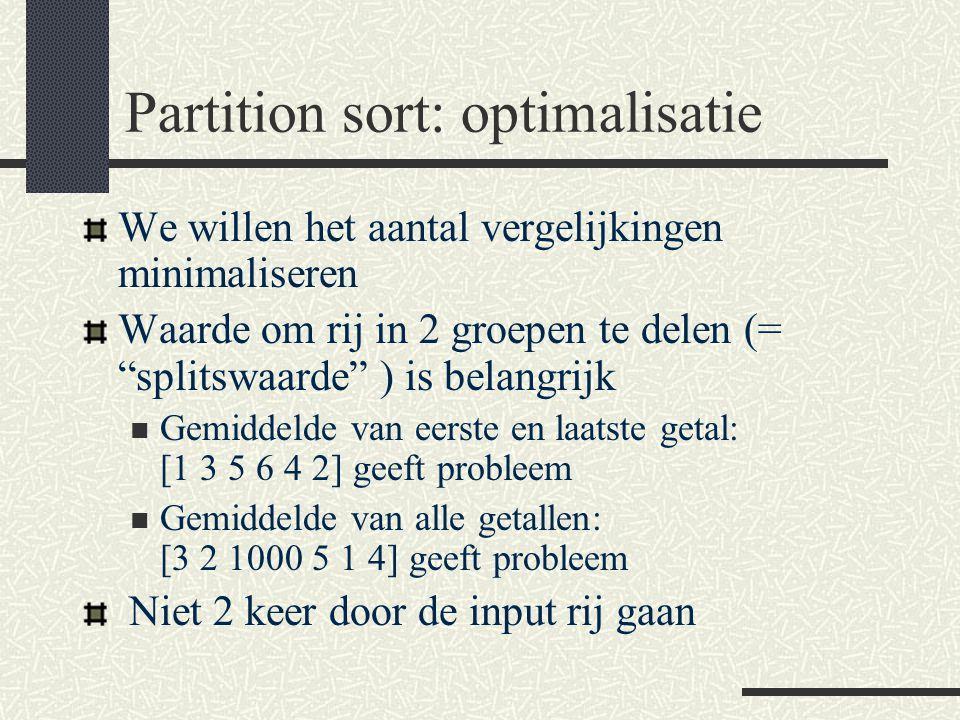 Partition sort: optimalisatie We willen het aantal vergelijkingen minimaliseren Waarde om rij in 2 groepen te delen (= splitswaarde ) is belangrijk Gemiddelde van eerste en laatste getal: [1 3 5 6 4 2] geeft probleem Gemiddelde van alle getallen: [3 2 1000 5 1 4] geeft probleem Niet 2 keer door de input rij gaan