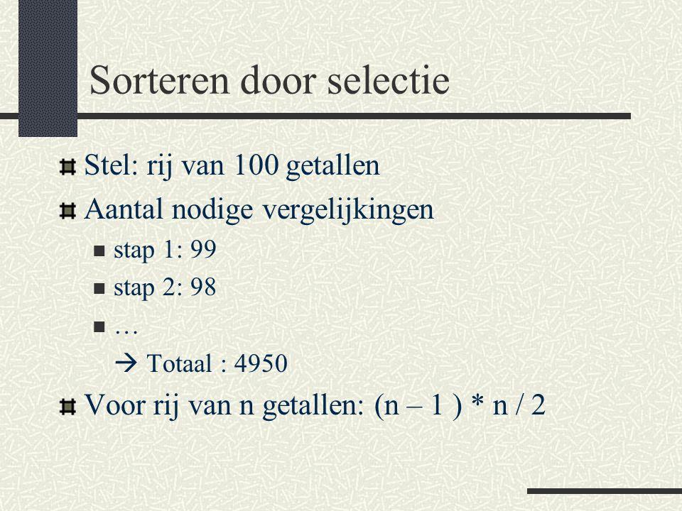 Sorteren door selectie Stel: rij van 100 getallen Aantal nodige vergelijkingen stap 1: 99 stap 2: 98 …  Totaal : 4950 Voor rij van n getallen: (n – 1 ) * n / 2