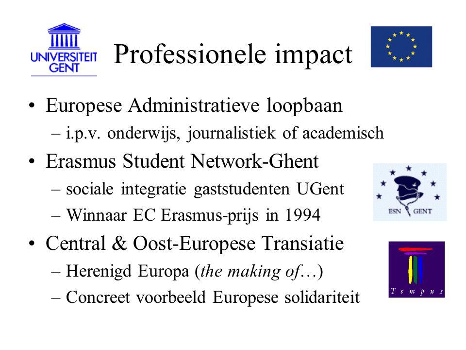 Professionele impact Sterke groei Europese onderwijsprojecten => DEO institutionele banden tussen universiteiten, bedrijven,...