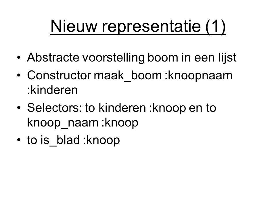 Nieuw representatie (1) Abstracte voorstelling boom in een lijst Constructor maak_boom :knoopnaam :kinderen Selectors: to kinderen :knoop en to knoop_naam :knoop to is_blad :knoop