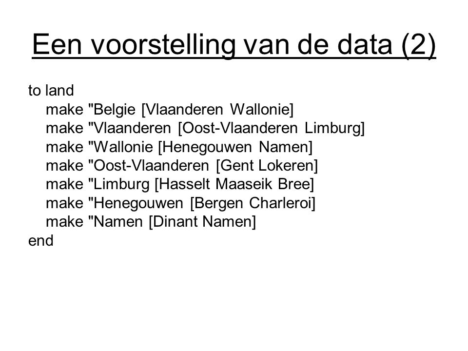 Een voorstelling van de data (2) to land make
