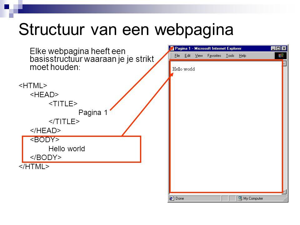 Structuur van een webpagina Elke webpagina heeft een basisstructuur waaraan je je strikt moet houden : Pagina 1 Hello world