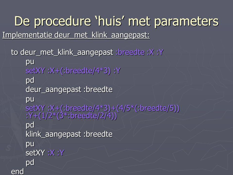 De procedure 'huis' met parameters Implementatie deur_met_klink_aangepast: to deur_met_klink_aangepast :breedte :X :Y pu setXY :X+(:breedte/4*3) :Y pd deur_aangepast :breedte pu setXY :X+(:breedte/4*3)+(4/5*(:breedte/5)) :Y+(1/2*(3*:breedte/2/4)) pd klink_aangepast :breedte pu setXY :X :Y pdend