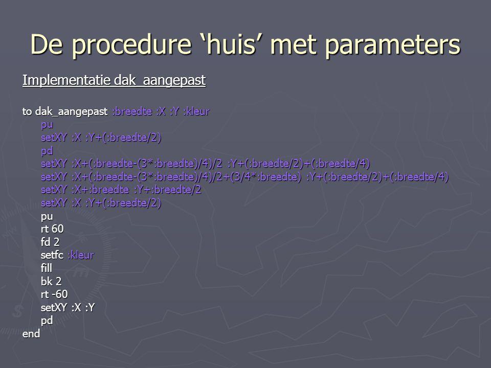 De procedure 'huis' met parameters Implementatie dak_aangepast to dak_aangepast :breedte :X :Y :kleur pu setXY :X :Y+(:breedte/2) pd setXY :X+(:breedte-(3*:breedte)/4)/2 :Y+(:breedte/2)+(:breedte/4) setXY :X+(:breedte-(3*:breedte)/4)/2+(3/4*:breedte) :Y+(:breedte/2)+(:breedte/4) setXY :X+:breedte :Y+:breedte/2 setXY :X :Y+(:breedte/2) pu rt 60 fd 2 setfc :kleur fill bk 2 rt -60 setXY :X :Y pdend
