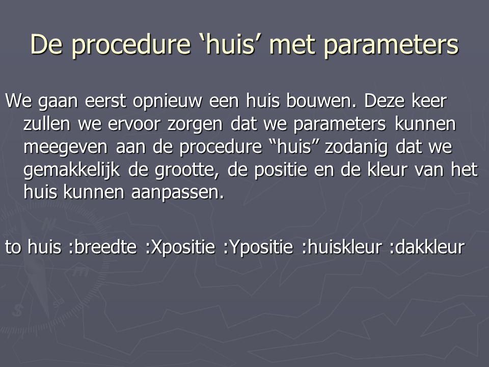 De procedure 'huis' met parameters Het huis werd opgesplitst in deelproblemen: DeelprobleemProcedureVerfijning MurenVierhoek RamenVierhoek DeurDeurVierhoek KlinkCirkel DakDakTrapezium SchoorsteenVierhoek