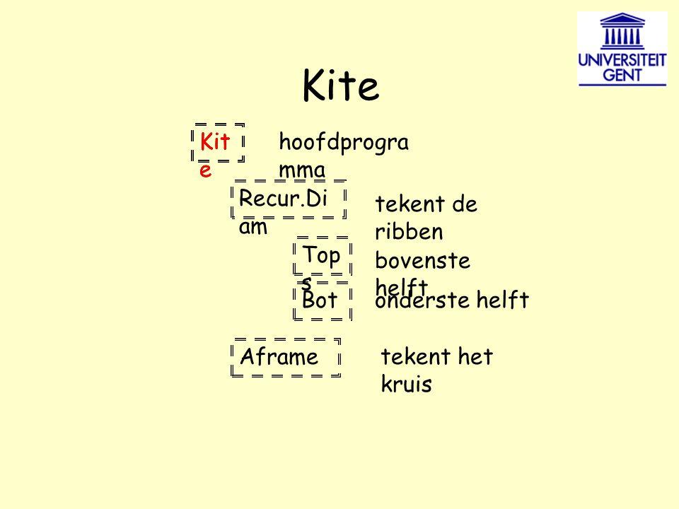 Recur.Di am Top s Bot Aframe hoofdprogra mma tekent de ribben bovenste helft onderste helft tekent het kruis Kit e