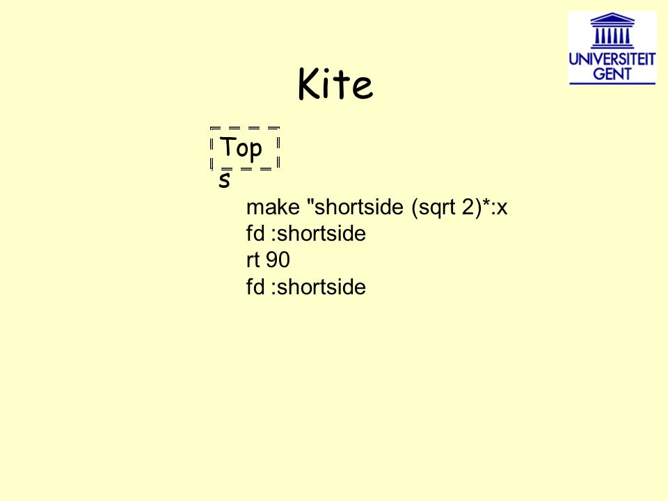 Kite Top s make shortside (sqrt 2)*:x fd :shortside rt 90 fd :shortside