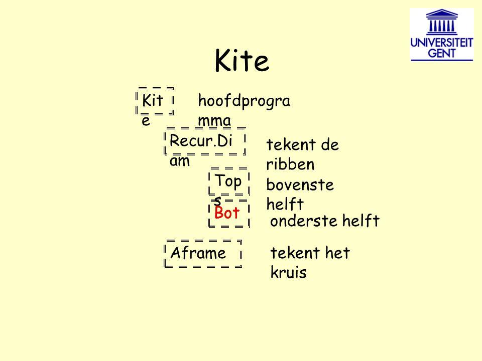 Kite Recur.Di am Top s Bot Aframe hoofdprogra mma tekent de ribben bovenste helft onderste helft tekent het kruis Bot