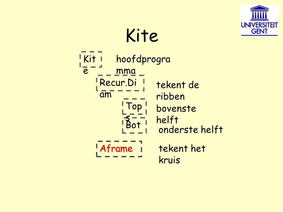 Kite Recur.Di am Top s Bot Aframe hoofdprogra mma tekent de ribben bovenste helft onderste helft tekent het kruis Aframe