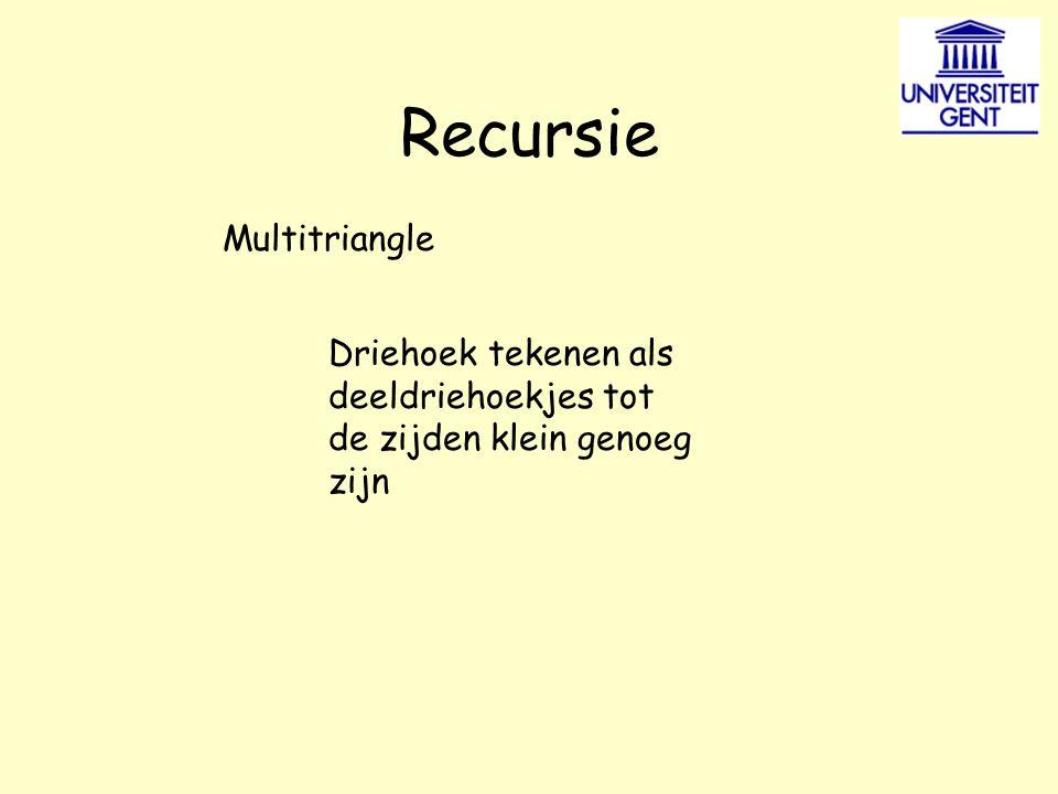 Recursie Multitriangle Driehoek tekenen als deeldriehoekjes tot de zijden klein genoeg zijn