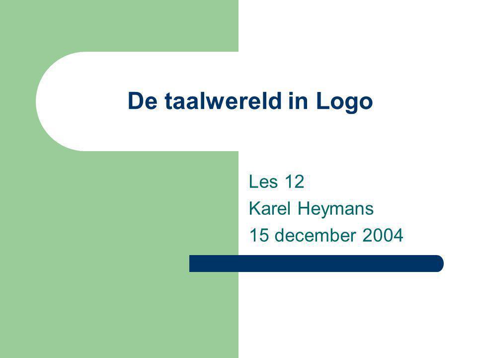 De taalwereld in Logo Les 12 Karel Heymans 15 december 2004