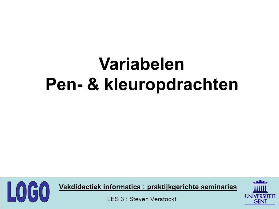 LES 3 : Steven Verstockt Vakdidactiek informatica : praktijkgerichte seminaries Pen- en kleuropdrachten Oppervlakken opvullen FILL(vul het oppervlak waarin zich de schildpad bevindt) De opvulkleur wordt ingesteld aan de hand van : SETFC kleurenpalet(setfloodcolor/setfloodcolour) Voorbeeld : opvullen vierkant repeat 4 [fd 100 rt 90] rt 45 pu fd 20 fill