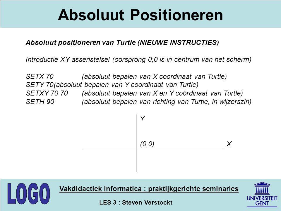 LES 3 : Steven Verstockt Vakdidactiek informatica : praktijkgerichte seminaries Absoluut Positioneren Absoluut positioneren van Turtle (NIEUWE INSTRUC
