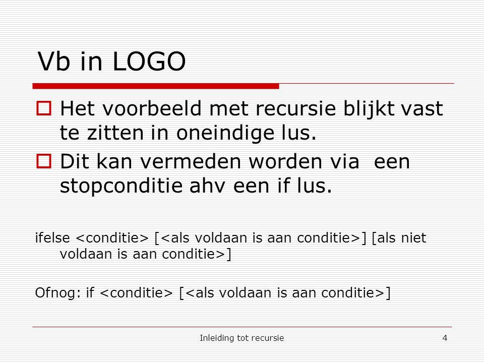 Inleiding tot recursie4 Vb in LOGO  Het voorbeeld met recursie blijkt vast te zitten in oneindige lus.
