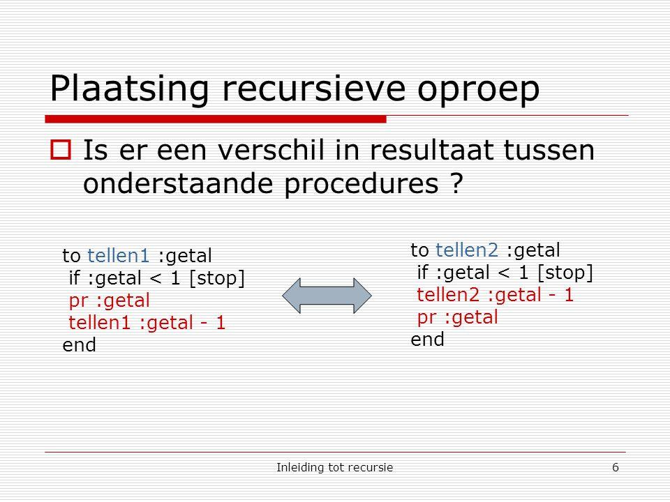 Inleiding tot recursie6 Plaatsing recursieve oproep  Is er een verschil in resultaat tussen onderstaande procedures .