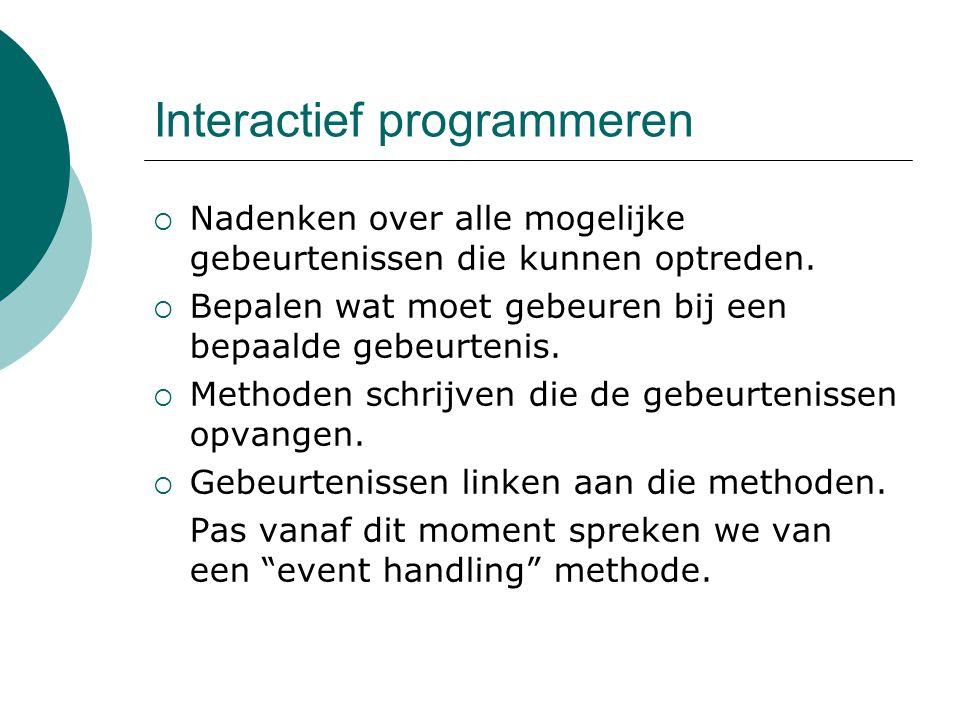 Interactief programmeren  Nadenken over alle mogelijke gebeurtenissen die kunnen optreden.