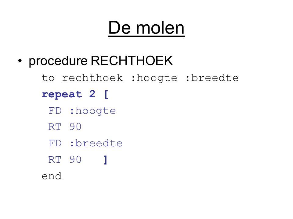 De molen procedure RECHTHOEK to rechthoek :hoogte :breedte repeat 2 [ FD :hoogte RT 90 FD :breedte RT 90 ] end