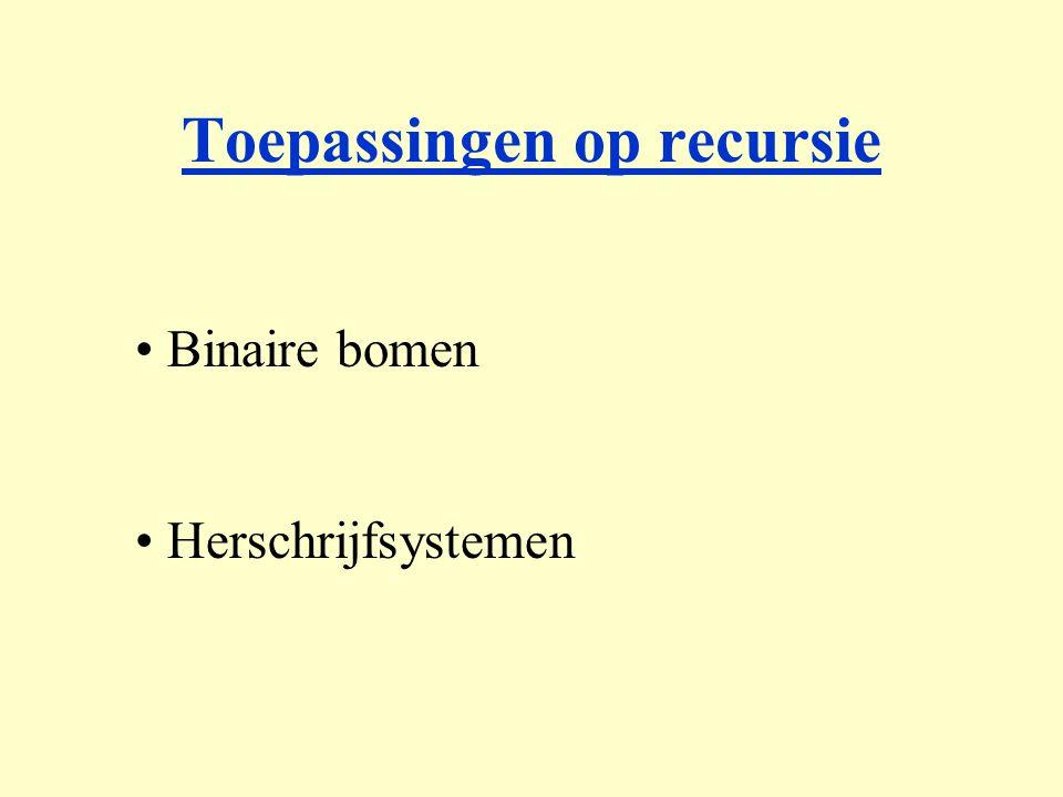 Binaire bomen Herschrijfsystemen Toepassingen op recursie