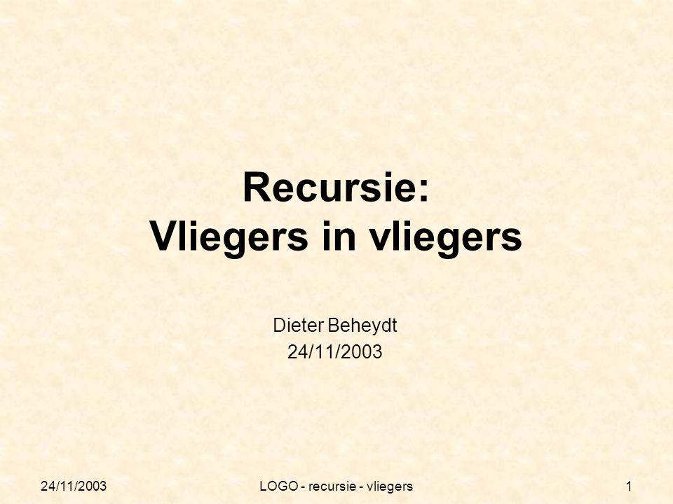 24/11/2003LOGO - recursie - vliegers12 Besluit Bepaalde problemen kunnen elegant opgelost worden door recursie te gebruiken.