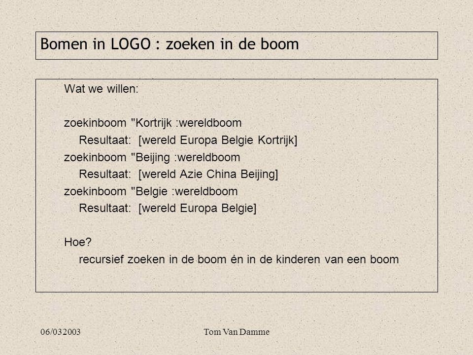 06/032003Tom Van Damme to zoekinboom :gezocht :boom if emptyp :boom [op []] ifelse equalp gegeven :boom :gezocht ~ [op (list :gezocht)]~ [ifelse bladp :boom [op []]~ [make tmp zoekinkinderen :gezocht kinderen :boom ifelse emptyp :tmp [op []] ~ [op sentence gegeven :boom :tmp] ] end Bomen in LOGO : zoeken in de boom oplossing