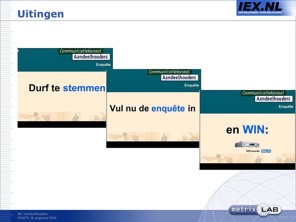IEX Aandeelhouders P04373, © augustus 2004 sheet 13 Uitingen